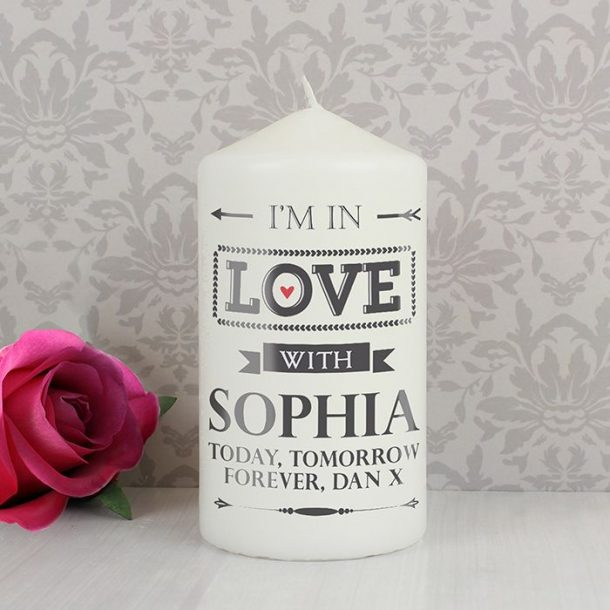 Personalised In Love With Candle