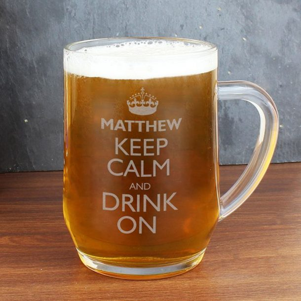Personalised Keep Calm Glass Tankard