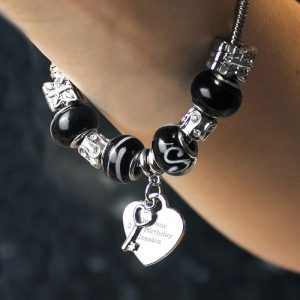 Personalised Key To My Heart Charm Bracelet