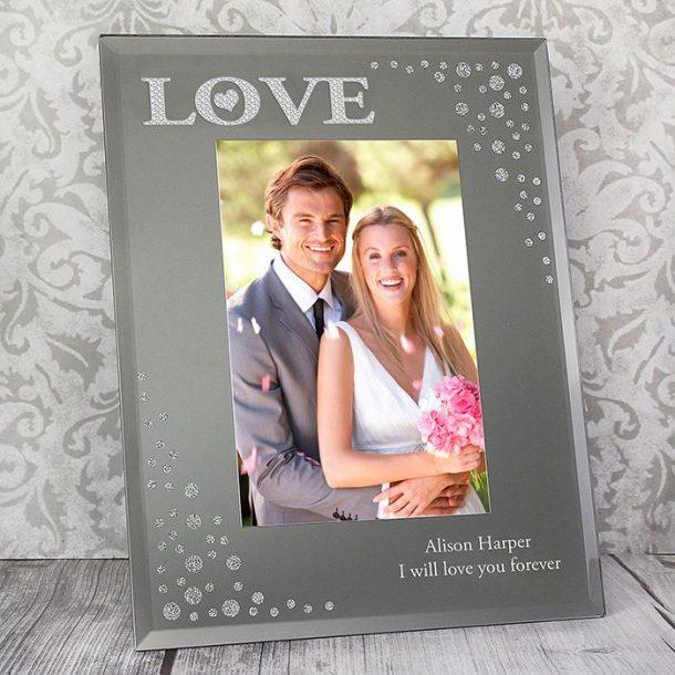 Personalised LOVE Diamante Glass Photo Frame