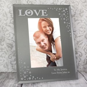 Personalised LOVE Diamante Photo Frame