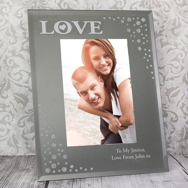Personalised LOVE Diamante Photo Frame