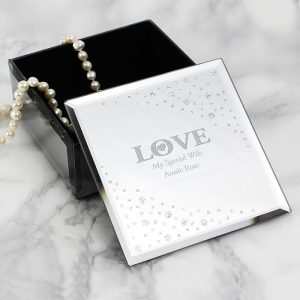 Personalised LOVE Diamante Trinket Box