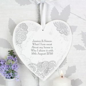 Personalised Lace Wooden Heart