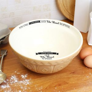 Personalised Live Once Baking Bowl