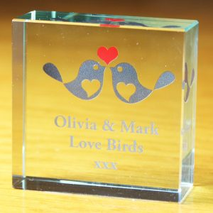 Personalised Love Birds Glass Token