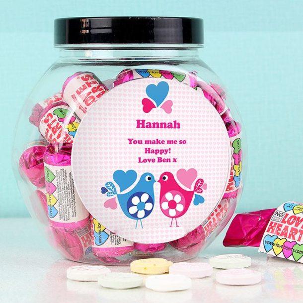 Personalised Love Heart Birds Sweet Jar