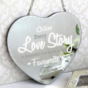 Personalised Love Story Heart Mirror