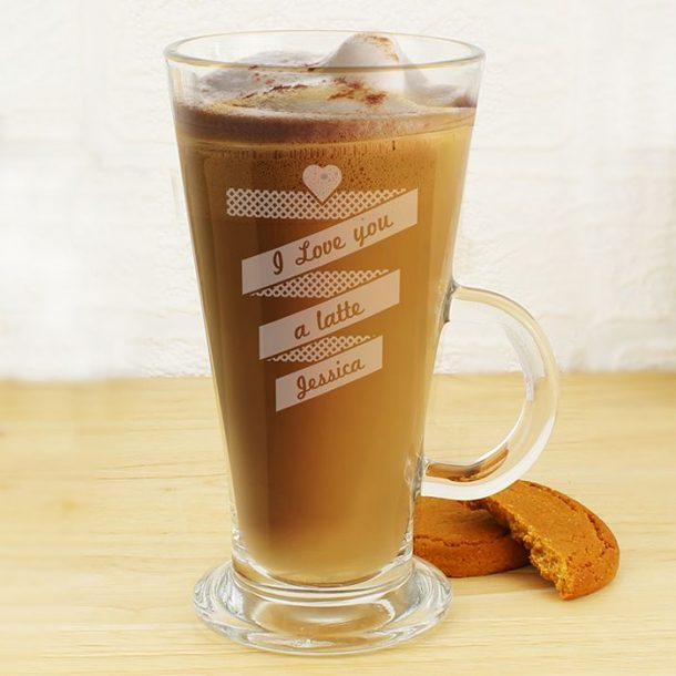 Personalised Love You Latte Glass