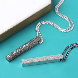 Personalised Men's Brushed Bar Necklace