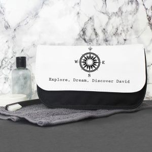 Personalised Men's Compass Wash Bag