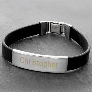 Personalised Men's Rubber & Steel Bracelet