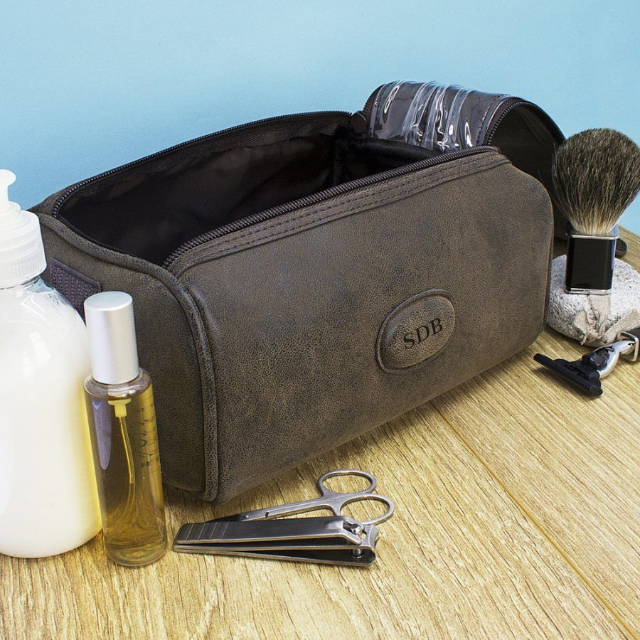 Wedding Gift For Those Who Have Everything: Personalised Men's Suede Wash Bag