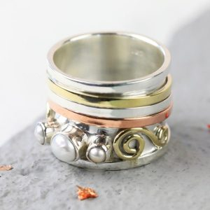 Personalised Mixed Metal & Pearl Ring