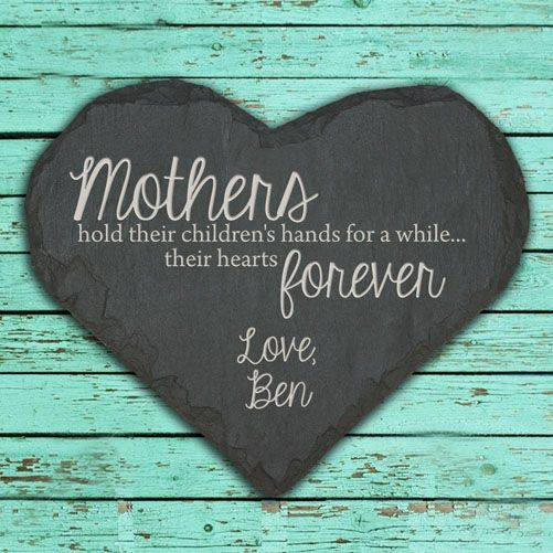 Personalised Mothers Hands and Hearts Slate Keepsake