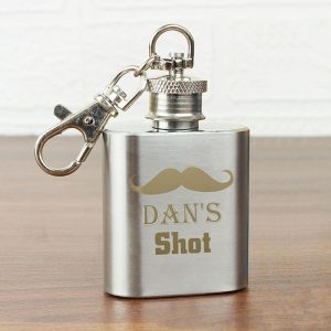 Personalised Moustache Hip Flask Keyring