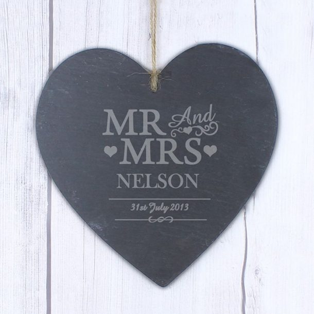 Personalised Mr & Mrs Large Slate Heart