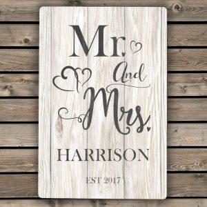Personalised Mr & Mrs Metal Sign