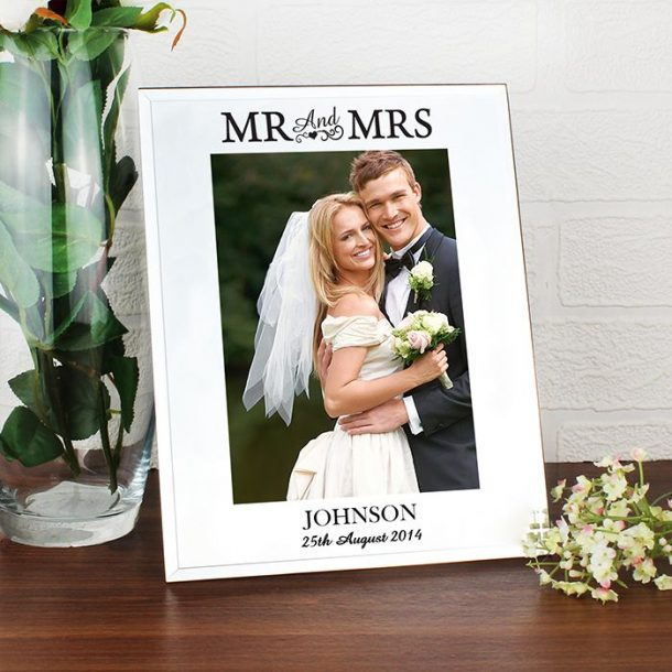 Personalised Mr & Mrs Mirrored Photo Frame
