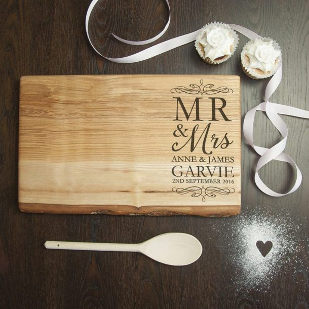 Personalised Mr and Mrs Welsh Ash Serving Board