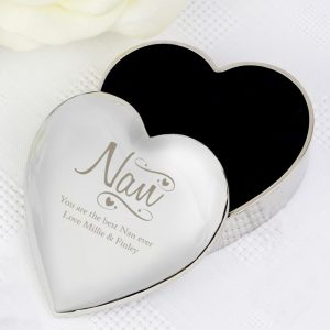 Personalised Nan Hearts and Swirl Trinket Box