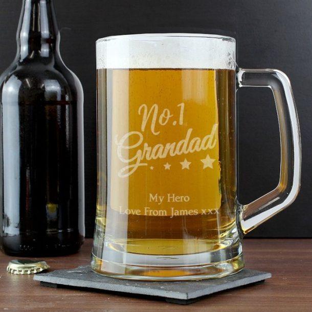 Personalised No.1 Grandad Glass Tankard