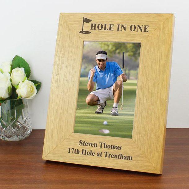 Personalised Oak Golf Photo Frame