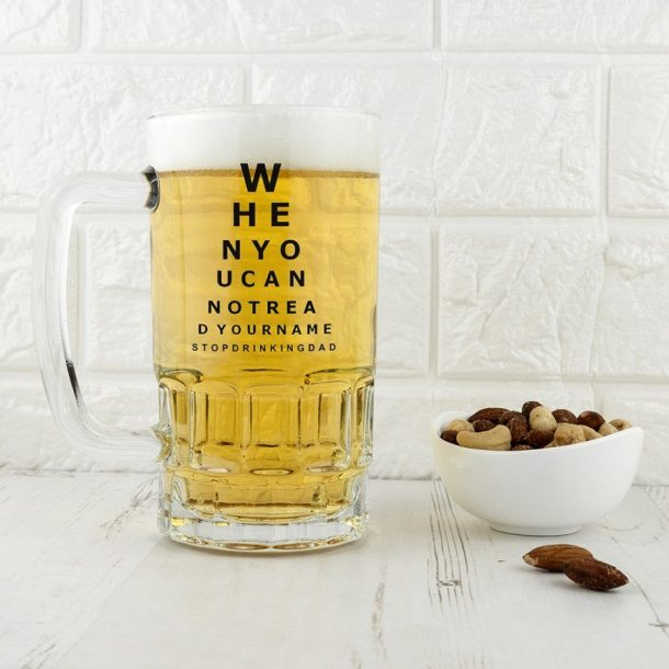 Personalised Opticians Chart Glass Tankard
