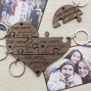 Personalised Our Family Wooden Keyrings