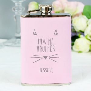 Personalised Paw Me Pink Hip Flask