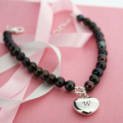 Personalised Pearl Bracelet & Heart Charm