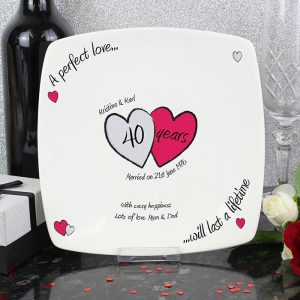 Personalised Perfect Love Ruby Anniversary Plate