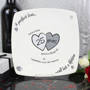 Personalised Perfect Love Silver Anniversary Plate