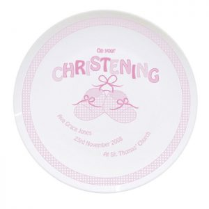 Personalised Pink Bootee Christening Plate