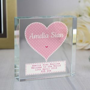 Personalised Pink Heart Glass Token
