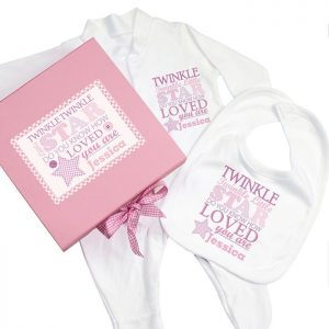Personalised Pink Twinkle Twinkle Baby Girl Set