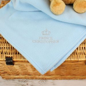 Personalised Prince Baby Blue Blanket