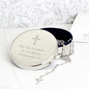 Personalised Rosary Beads & Cross Trinket Box