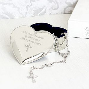 Personalised Rosary Beads & Heart Trinket Box