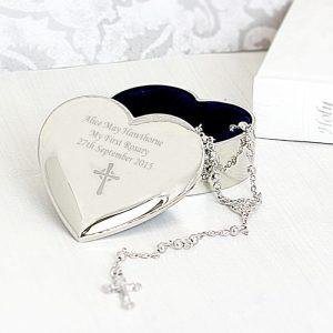 Personalised Rosary Beads & Heart Trinket Box