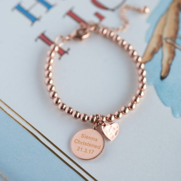 Personalised Rose Gold Christening Bracelet