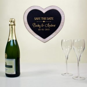 Personalised Save The Date Heart Slate Sign
