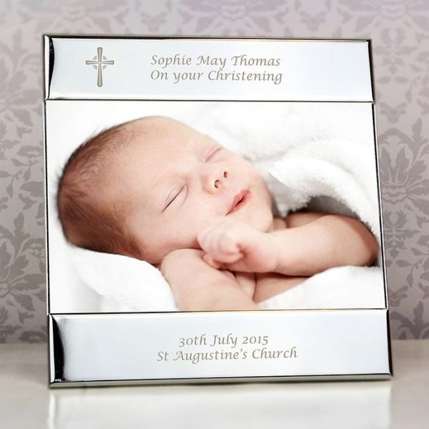 Personalised Silver Cross Photo Frame