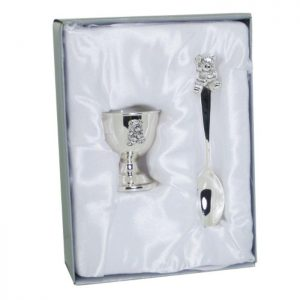 Personalised Silver EggCup & Spoon