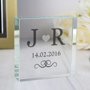 Personalised Silver Heart Glass Token