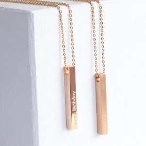 Personalised Solid Rose Gold Bar Necklace