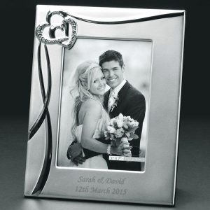 Personalised Sparkling Hearts Photo Frame