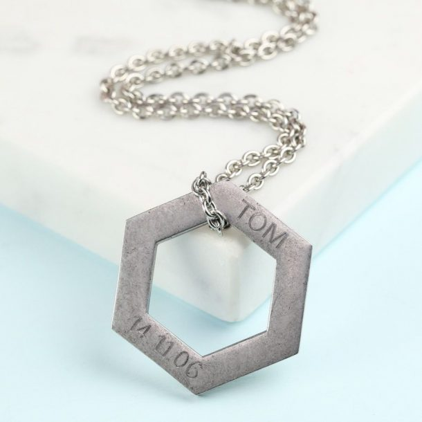 Personalised Stainless Steel Hexagonal Necklace