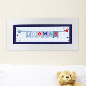 Personalised Star Bunting Boys Name Frame