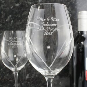 Personalised Swarovski Heart Wine Glasses
